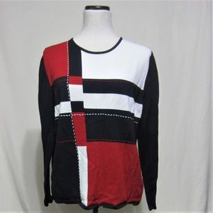 Alfred Dunner Ladies Pullover Sweater, Large, Red